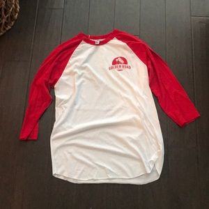Other - Red and white baseball tee, size M. 3/4 sleeve.